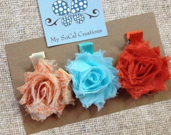SALE-Shabby Chic Petite Flower Hair Clip Trio-No Slip Hair Clips-Fall Flowers-Ready To Ship