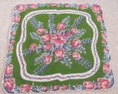 Beautiful Large Green Floral Cotton Hankie Handkerchief