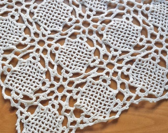 12 inch Vintage Doily, Square Crocheted Doily in Cream Color