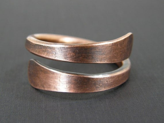 Large Copper Cable : Mens large copper ring or womens thumb wire