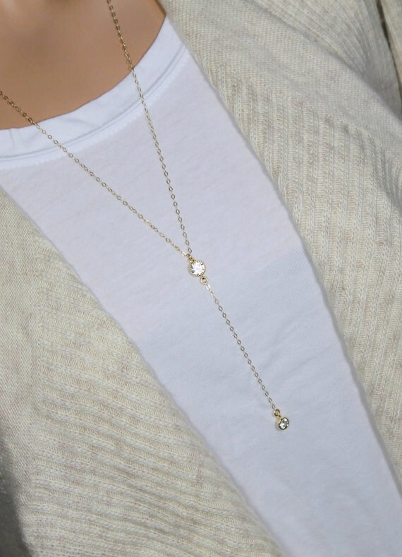 Gold Y Drop Necklace Simple CZ Lariat Necklace CZ by ...