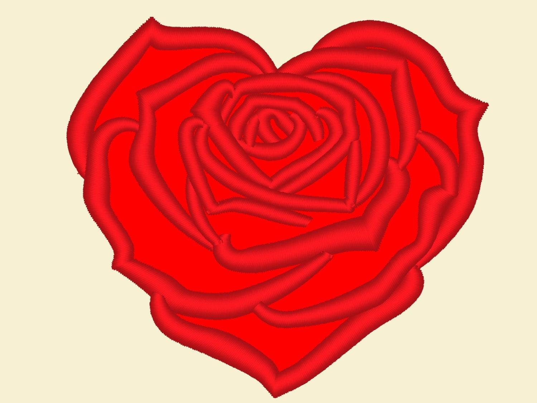 Heart rose machine embroidery applique designs