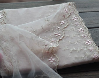 2 Yards Lace Trim Pink Floral Embroidered Tulle Lace Trim 7.48 Inches Wide High Quality