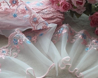 2 Yards Lace Trim Pink Flowers Embroidered White Tulle Lace 4.72 Inches Wide