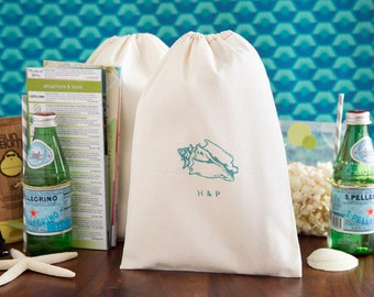 Seashell Welcome Bags - Destination Welcome Bags - Custom Wedding Welcome Bags - Beach Wedding Welcome Bags - Beach Wedding - Shell Wedding