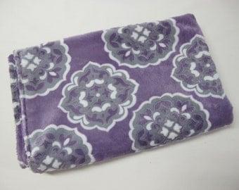 Purple and grey baby girl blanket