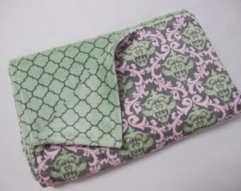 Light pink and light green baby girl blanket