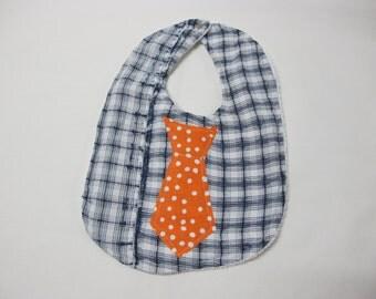 Men's dress shirt reused for a baby tie bib