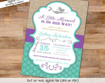 Mermaid baby shower invitation bridal shower under the sea 1365 wedding hen party bachelorette high tea rehearsal engagement  invitation