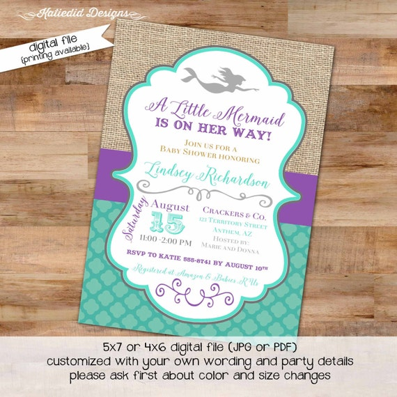 purple teal mermaid invitation | co-ed baby shower | Mermaid 1st birthday | mermaid bachelorette party | diaper wipe | 1365 Katiedid Designs