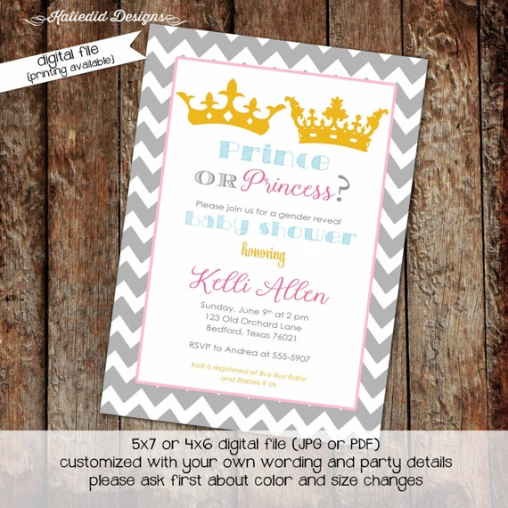 he or she gender reveal invitation surprise gender reveal little prince baby shower little princess pink or blue crown 1409 Katiedid Designs