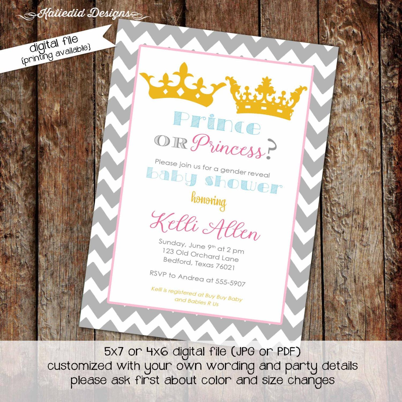 gender reveal baby shower invitation prince or princess royal