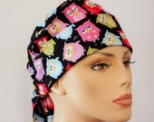 Pixie Style Womens Scrub Hat-Sleepy Owl Who Gives A Hoot Multi Colored Owls on Black