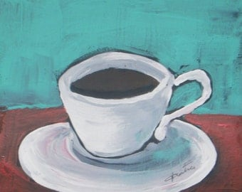 "Morning Coffee Original Acrylic Painting Still Life Painting - watercolor paper 6""x6"" - daily painting"