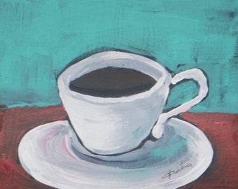 "Morning Coffee Original Acrylic Painting Still Life Painting - 6""x6"" fine art paper"
