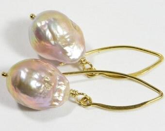 Kasumi Like Pearl Earrings, Genuine Pearl Earrings Gold Pearls Earrings Bridesmaid Gift Birthstone Jewelry