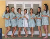 Bridesmaid Robes. Kimono Robe. Bridesmaids Robes. Kimono. Bridal Robes. Wedding. Sonoma Farm House Collection. Turquoise. Knee Length.