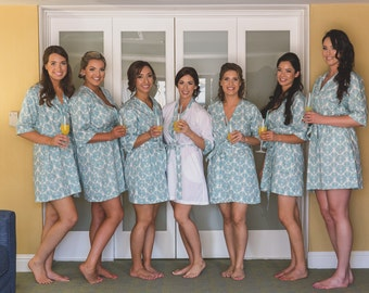 Bridesmaid Robes. Bridesmaids Robes. Bridal Robes. Wedding Gift. Sonoma Farm House Collection. Turquoise. Knee Length.