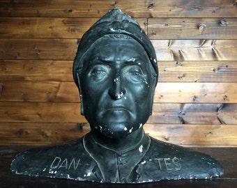 Vintage French lifesize Dantes black plaster bust statue figurine of man circa 1940-50's / English Shop