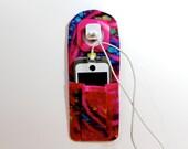 iPhone Charger Holder -  Docking Station - iPhone Charger Holder -  Pink Batik Travelers Socket Pocket