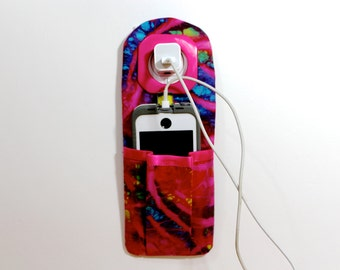 iPhone Charger Holder -  Docking Station - iPhone Charger Holder -  Pink Batik Travelers Socket Pocket