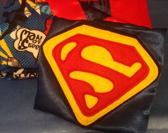 Superman Baby Blanket and Cape (Made and Ready to Ship)