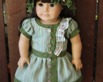 Samantha's green and pink bathing costume, dress, pants, bonnet, and shoes for 18in American girl dolls
