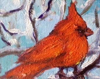 """Cardinal baby  bird painting original art 4 x 6 """""""