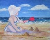 Beach Girl Painting, Beach Girl Art Print, Child Seashore Print, Baby Shower Gift, Nursery Wall Decor, Beach Decor Gift, Barbara Rosenzweig