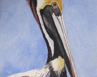 PELICAN BIRD PRINT Nautical Home Decor, Pelican Wall Art, Pelican Painting, Watercolor Pelican, Beach Print, Coastal Art, Beach Decor, Etsy