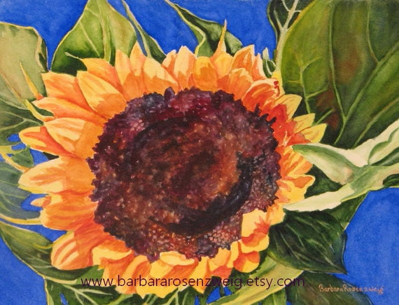 Sunflower Print, Sunflower Painting, Watercolor Sunflower, Sunflower Wall Art, Yellow Flowers, Kitchen Wall Art, Kitchen Decor, Tuscan Decor