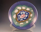 Porcelain Platter, Colors Of Purple, Green, Soft Blue, Red, White, Brown, Ready To Ship
