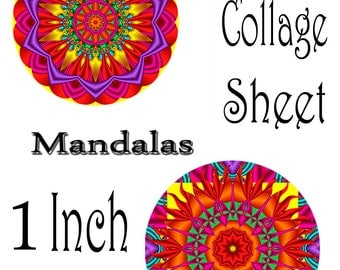 Mandala Fractal Designs 1 inch Round Digital Image Collage Sheet Instant Download JPEG (A-102C)