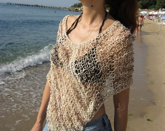 Cotton Summer Poncho Hand Knitted Women  Soft  Poncho , Eco Friendly