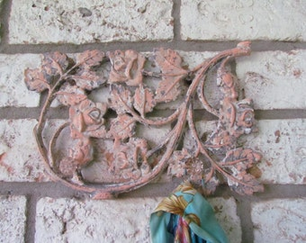 Vintage Cast Iron with Knobs Scroll Design for Hanging/Coastal Coral