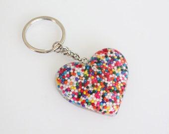 Candy Keychain - Resin Necklace - Rainbow - Kawaii - Cute - Sprinkles - Resin Heart
