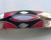 Abalone, mother of pearl and coral hair barrette   VJSE