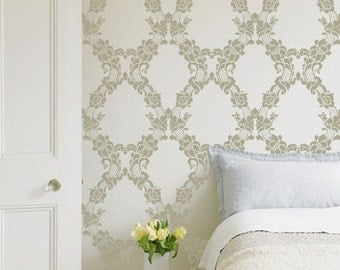 Floral Trellis Wallpaper Wall Stencil - Paint Large Vinatge Wall Mural with Flower Wall Designs