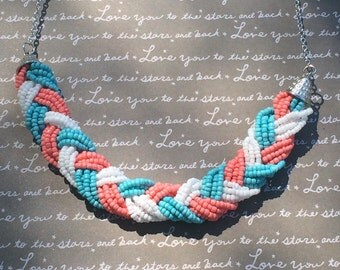 Gorgeous coral white and blue beaded necklace