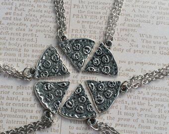 Silver best friends pizza necklace- 1 necklace