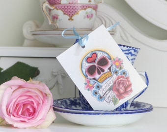 Forever yours sugar skull and rose tattoo day of the dead set of 3 gift tags