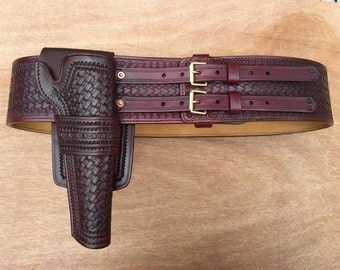 Twin Buckled Wide Belt & Holster