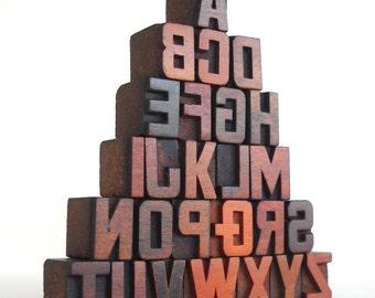 A to Z  - 26 Vintage Letterpress Wood Type Collection - VM031