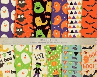 INSTANT DOWNLOAD - Halloween Seamless Patterns