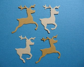 12 Small Leaping and Prancing Reindeer Embellishments for Christmas Cards Scrapbooking and Paper Crafts