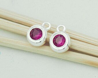 2 of Lab grown Ruby  & Sterling Silver Bezeled Charms 6.5 mm.  :tm0011