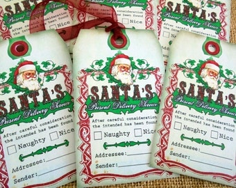 Set of 6 Large Santa's Present Delivery Service Christmas Gift Tags With Ribbon