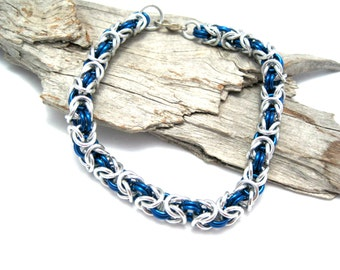 Royal Blue and Silver Byzantine Chain Maille Bracelet