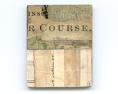 The Course - vintage typographic collage fridge magnet, text, abstract, printed