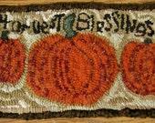 Primitive Finished Hand Hooked Rug ~Harvest Blessings ~ Gathering of 3 Pumpkins